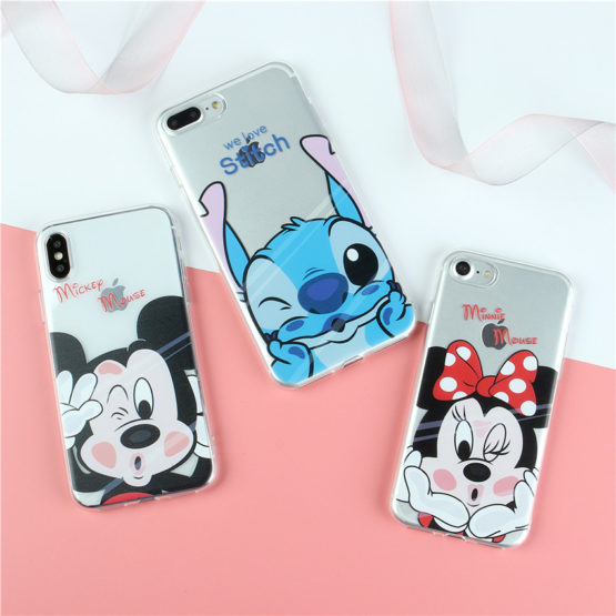 capa silicone minnie mickey stitch iphone