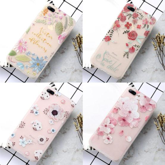 capa silicone flores iPhone