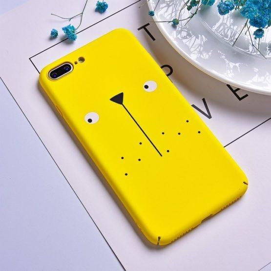 Capa plástico girafa para iPhone Esta capa amarela é totalmente em plástico e é decorada com uma girafa, disponível para diversos modelos do iPhone