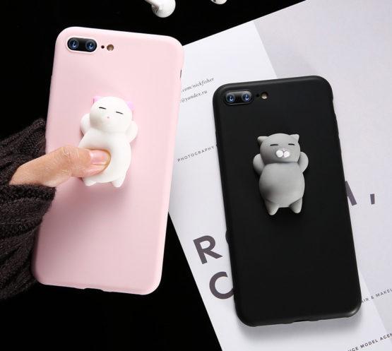 capa silicone boneco gato 3d iphone