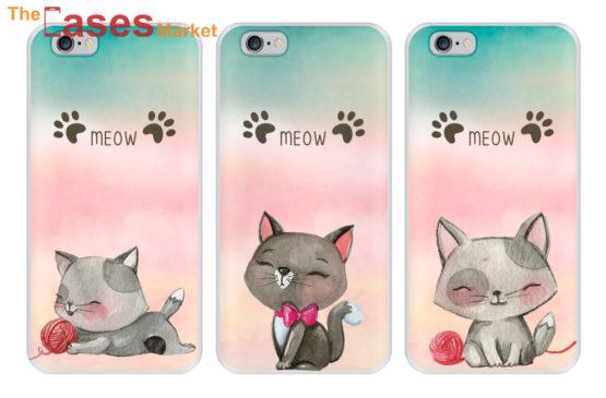 capa gato meow silicone iphone