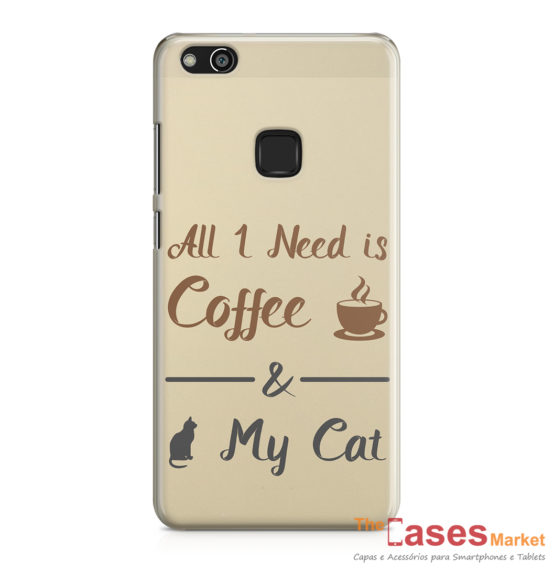 Capa telemovel Huawei all i need is coffee and my cat