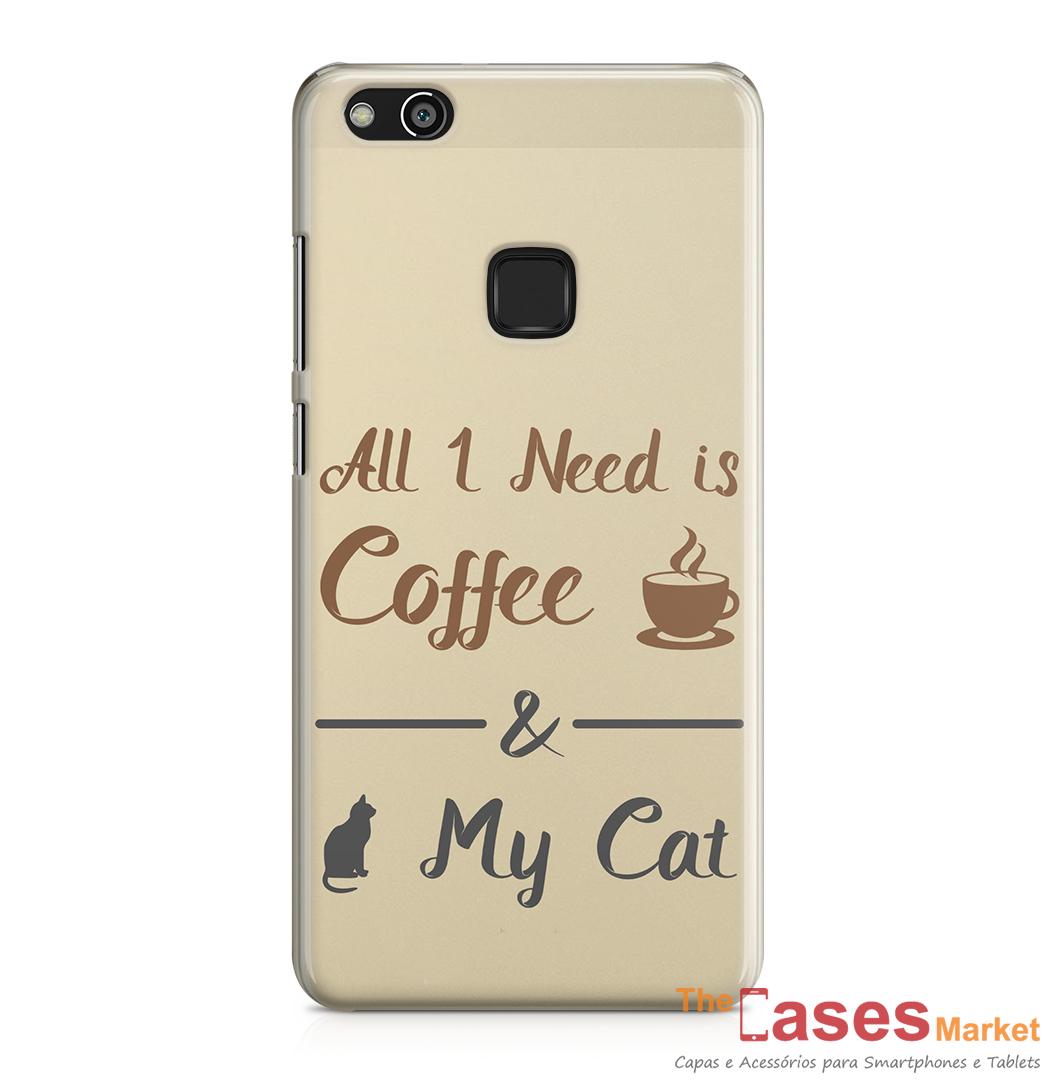 Capa telemovel Huawei all i need is coffee and my cat