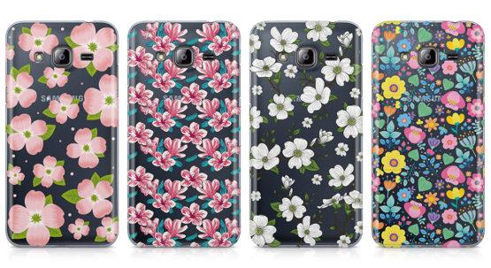 capas silicone transparende motivos florais samsung j3 2016