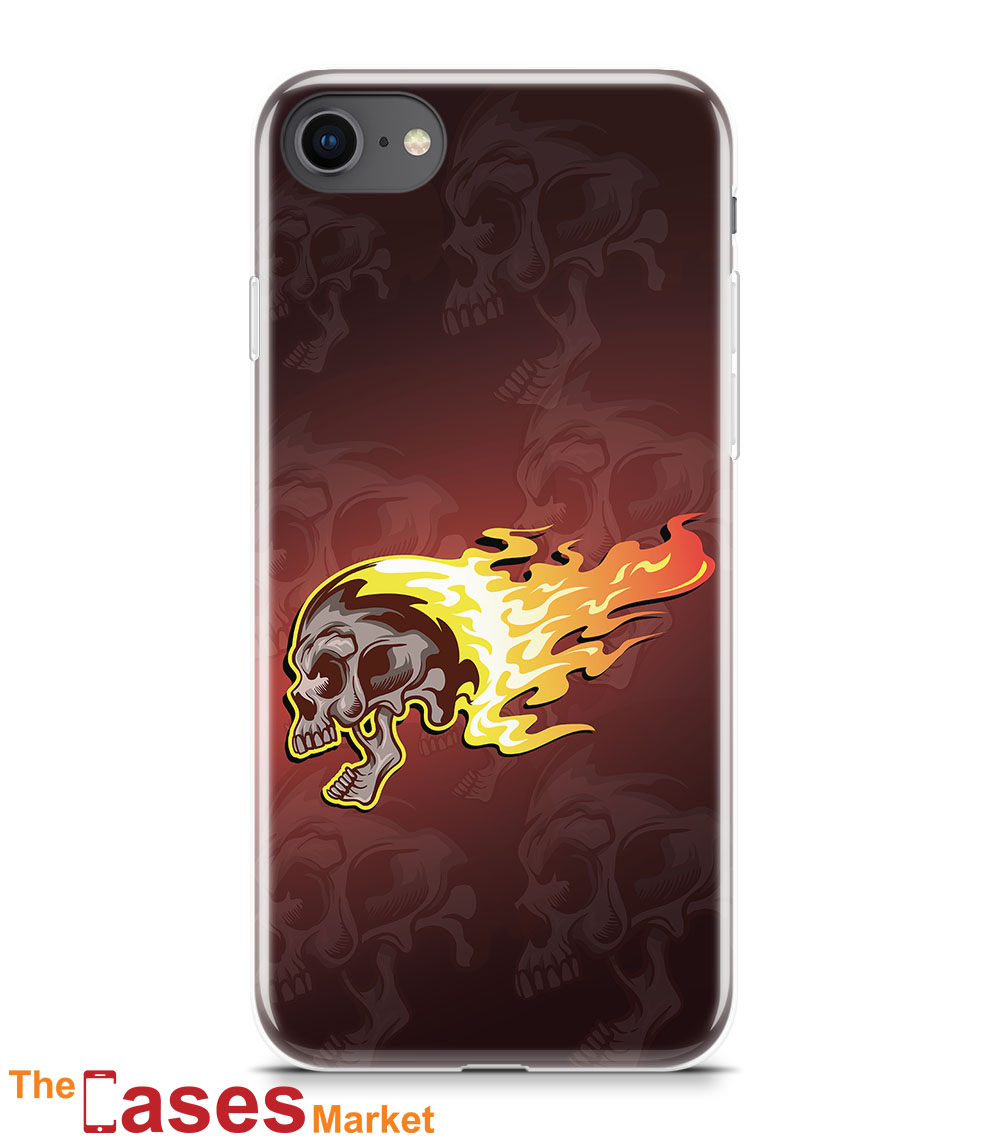 capa iPhone flaming skull