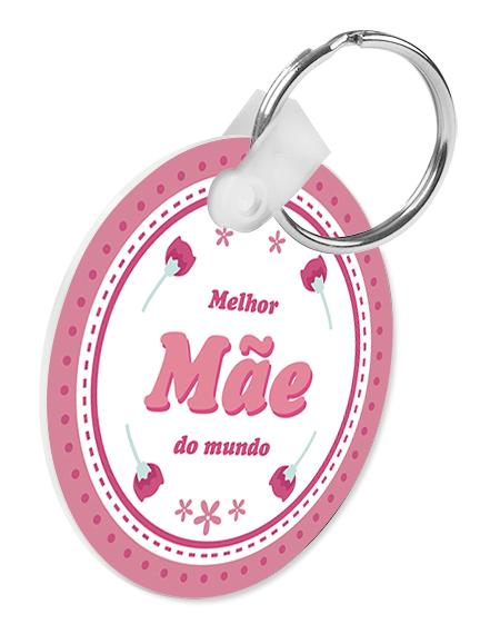 porta-chaves pvc redondo melhor mãe do mundo