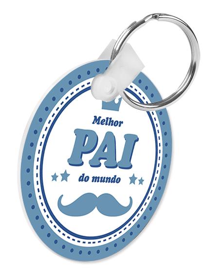 porta-chaves pvc redondo melhor pai do mundo